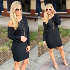LAST ONE! Infinity Raine Black Slouchy Knit Dress